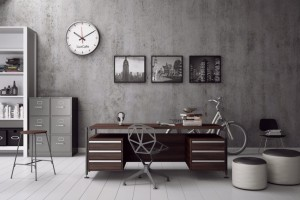 home-office-design-with-working-desk-with-office-chair-with-grey-color-scheme-painting-bicycle-pouf-wall-clock-white-marble-flooring